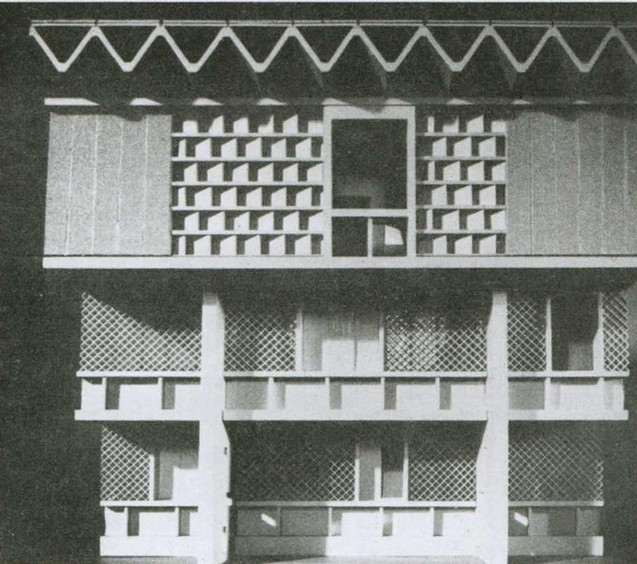 Vista de la celosía en fachada de la Embajada de Bagdad Josep Lluis Sert