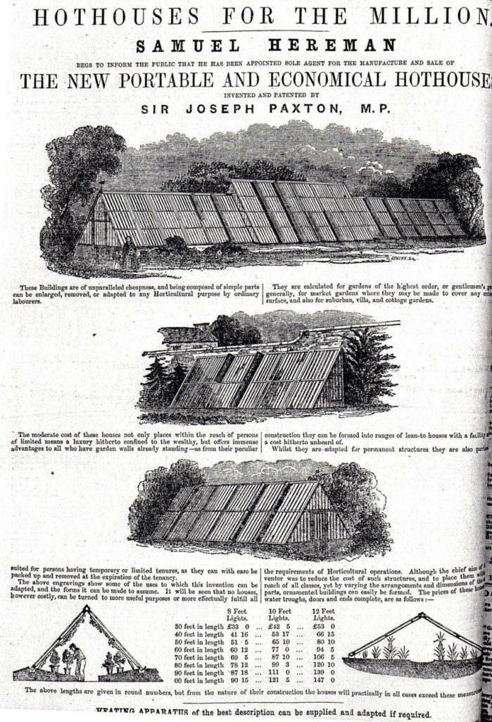 Joseph Paxton Hothouses for the million. The new portable and economical hothouse