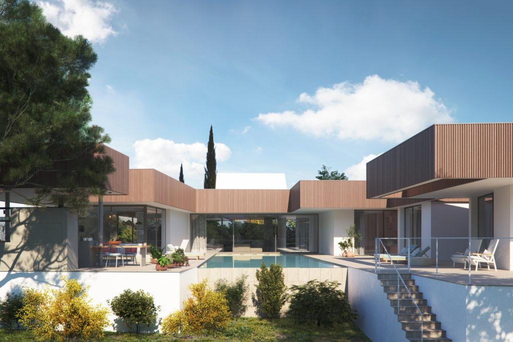 Obras 2020/21. AGi architects. Villa Archipiélago. Vista desde el atrio. Render de The Viz Design Company
