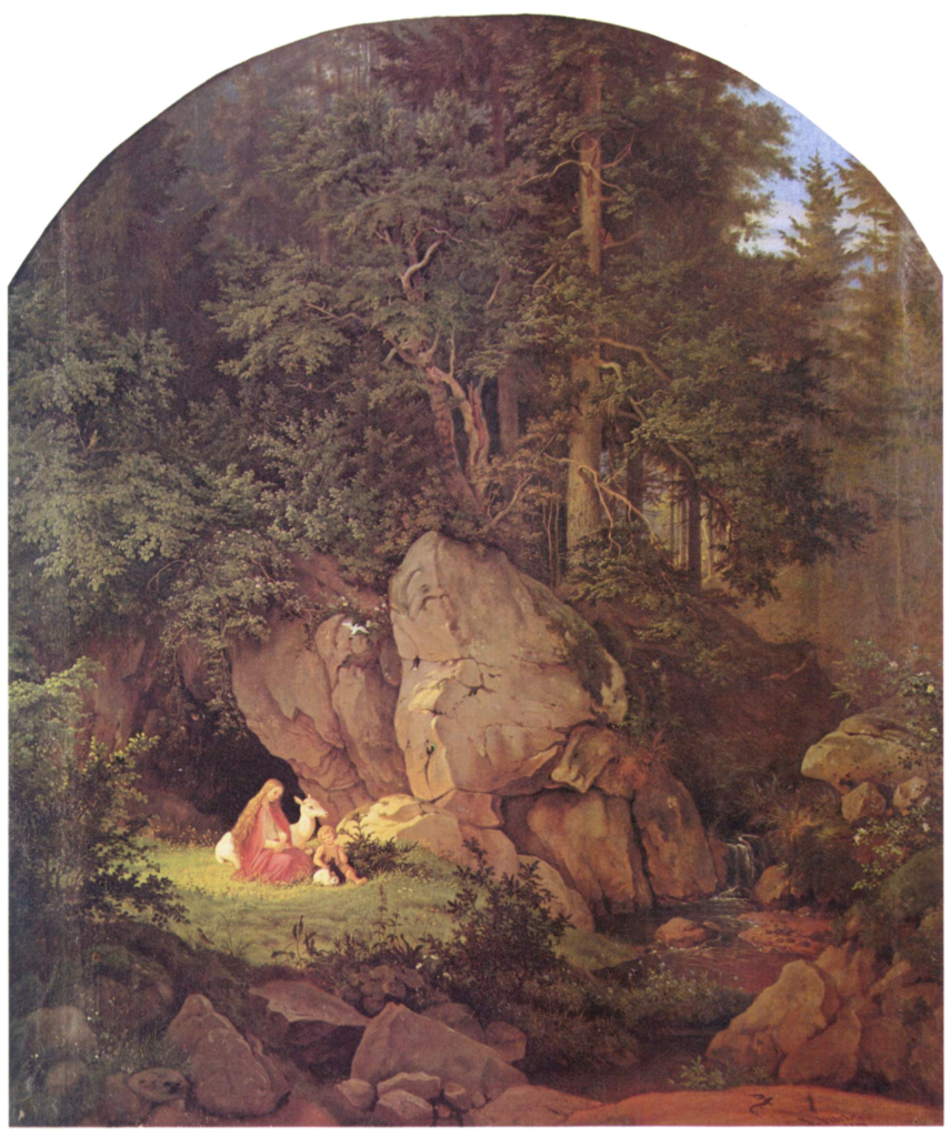 landscape and heritage - Adrian Ludwig Richter, Genoveva in the Wood, 1841. Wikipedia Commons.