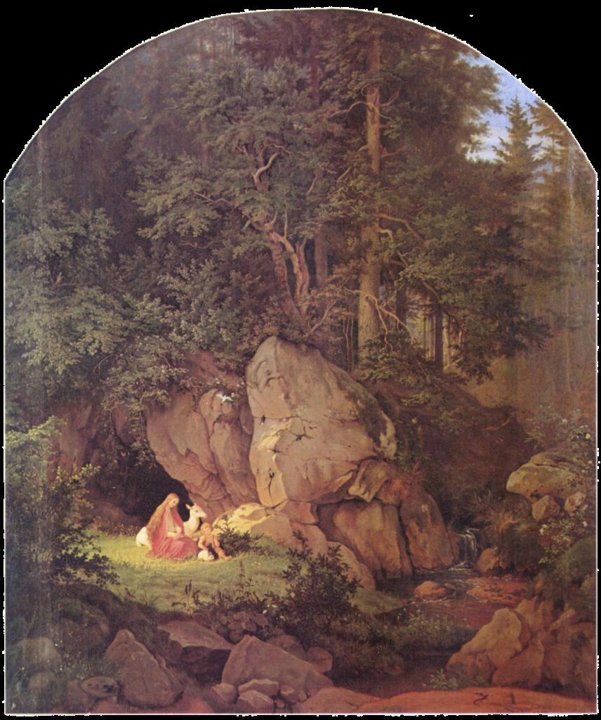 paisaje y patrimonio - Adrian Ludwig Richter, Genoveva en la soledad del bosque, 1841. Wikipedia Commons.