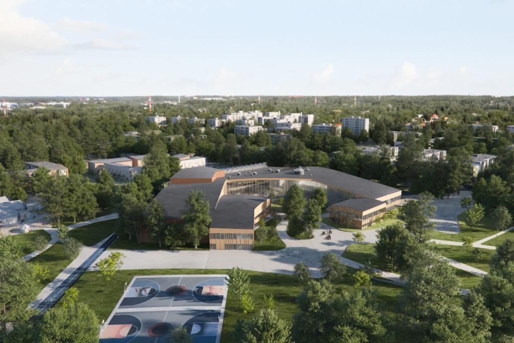Obras 2020/21 - AGi architects. Colegio en Finlandia. Render de The Viz Design Company